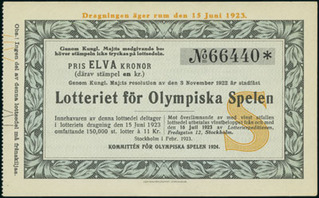 Swedish Lottery Ticket issued by the Committe for the 1924 Olympic Games