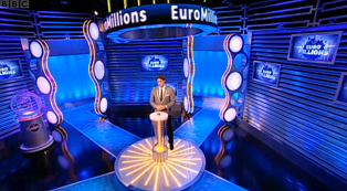 Euromillions lottery draw television studio.